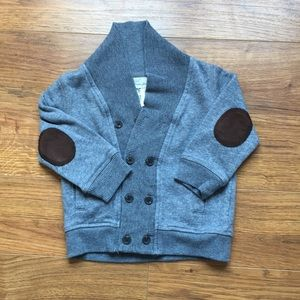 H&M 9-12m Gray cardigan with patchwork elbows